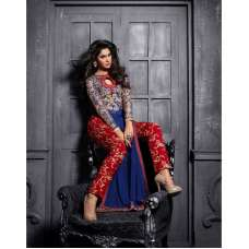 ZMS12010 Blue With Red MAISHA MASKEEN Dress