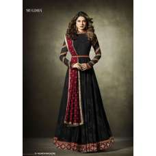 11019 Stunning Black Lycra Jacquard Semi Stitched Anarkali Suit With Velvet Shawl