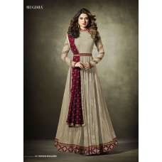 11019 Stunning Cream Lycra Jacquard Semi Stitched Anarkali Suit With Velvet Shawl