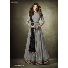 11019 Stunning Grey Lycra Jacquard Semi Stitched Anarkali Suit With Velvet Shawl