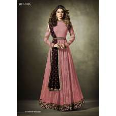 11019 Stunning Pink Lycra Jacquard Semi Stitched Anarkali Suit With Velvet Shawl