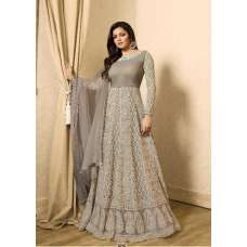 EID DRESS COLLECTION 2018: GREY EMBELLISHED ANARKALI SUIT