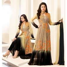 86009 BEIGE AND BLACK NITYA PARTY WEAR DESIGNER SUIT