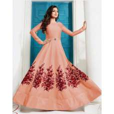 PEACHY SILK INDIAN PARTY WEAR GOWN