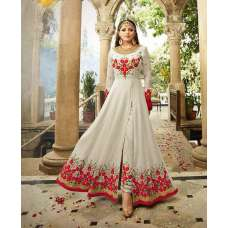 2301-C WHITE NITYA SLIT STYLE LONG ANARKALI DRESS