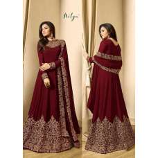 MAROON EMBROIDERED FLOOR LENGTH INDIAN ANARKALI SUIT