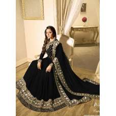 BLACK INDIAN STYLE EMBROIDERED ANARKALI EVENING WEAR GOWN