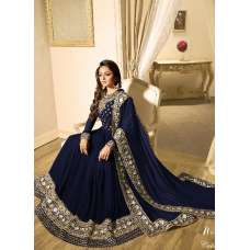 BLUE INDIAN STYLE EMBROIDERED ANARKALI GOWN