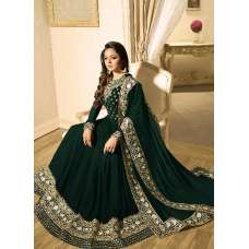 GREEN INDIAN STYLE EMBROIDERED ANARKALI GOWN