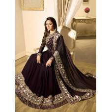 PLUM INDIAN STYLE WEDDING WEAR EMBROIDERED ANARKALI GOWN