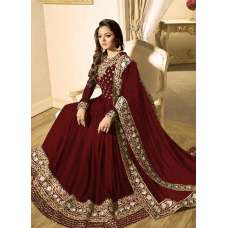 RED INDIAN STYLE EMBROIDERED MEHNDI WEAR ANARKALI GOWN