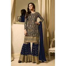 NAVY BLUE EMBELLISHED GHARARA PENT DRESS