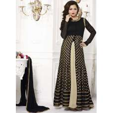 Black & Gold Indian Evening Wear Slit Style Gown