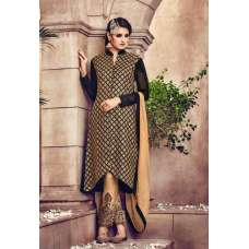 Omtex 81 Beige And Black Georgette Straight Cut Suit