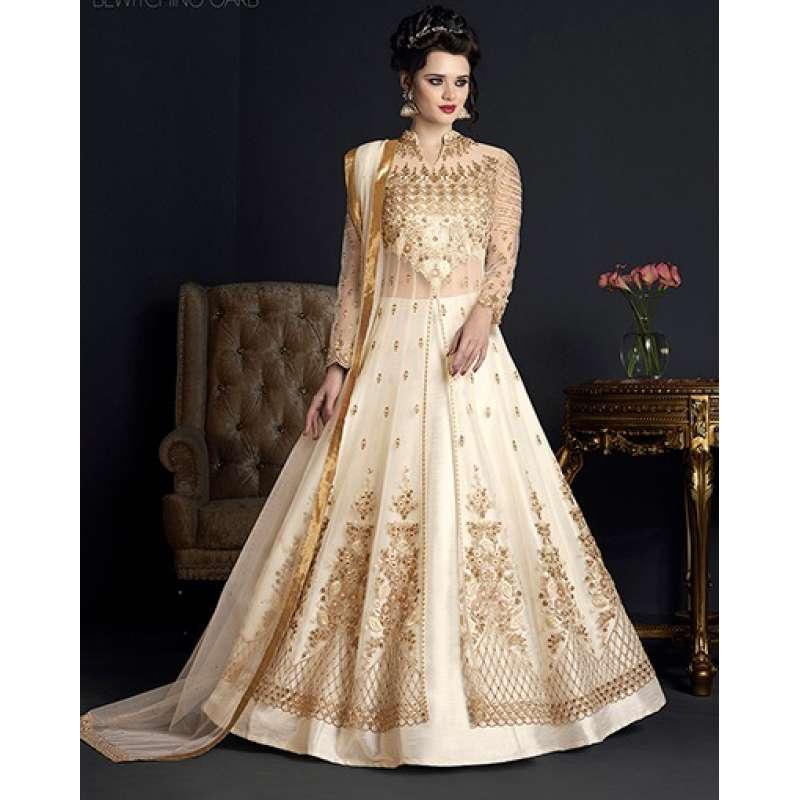 Cream Wedding Gown: CREAM HEAVY EMBROIDERED INDIAN WEDDING GOWN