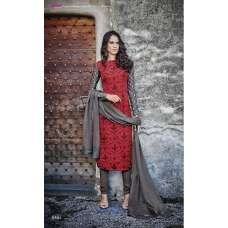 R6492 RED AND GREY ROMA FASHIONS CREPE SALWAR KAMEEZ SUIT