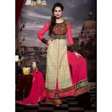 10112 BEIGE AND PINK STUNNING MUSK VOL 2 SEMI STITCHED SUIT