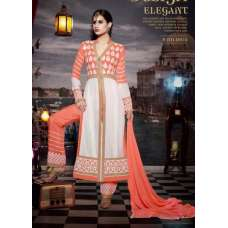 10114 ORANGE AND WHITE STUNNING MUSK VOL 2 SEMI STITCHED SUIT