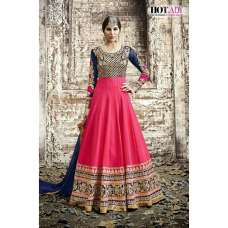 5514 PINK AND NAVY BLUE SAFEENA HOT LADY EMBROIDERED ANARKALI SUIT