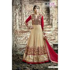5512 BEIGE AND RED SAFEENA HOT LADY EMBROIDERED ANARKALI SUIT