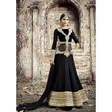 BLACK SAFEENA HOT LADY EMBROIDERED ANARKALI SUIT
