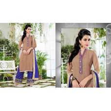 3101 BROWN AND BLUE GEORGETTE PALAZZO STYLE SALWAR SUIT