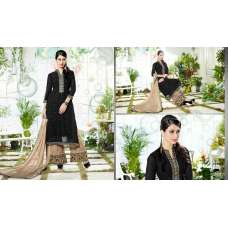 3103 BLACK AND BROWN GEORGETTE PALAZZO STYLE SALWAR SUIT