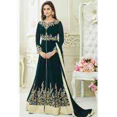 PEACOCK GREEN  JACKET STYLE ANARKALI GOWN