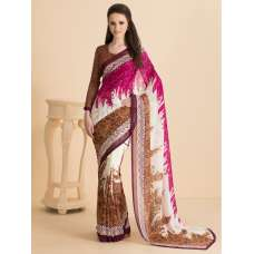 ACS-04 BROWN PRINTED SAREE AND BLOUSE