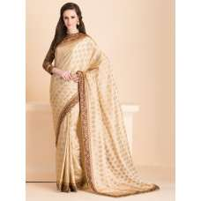 ACS-17 SUBTLE BEIGE SAREE WITH A JACKET STYLE FULL SLEEVES BLOUSE (READY MADE)
