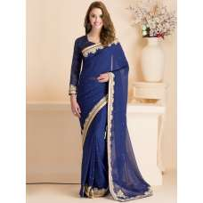 BLUE PARTY WEAR SAREE WITH FULL SLEEVE BLOUSE (READY MADE)