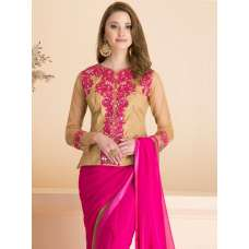 ACS-12 PLAIN PINK PARTY WEAR SAREE WITH STITCHED JACKET STYLE BLOUSE (READY MADE)