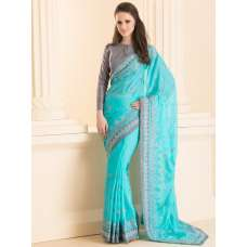 ACS-30 SILVER EMBROIDERED BORDER PARTY WEAR SAREE WITH ORNATE JACKET STYLE BLOUSE (READY MADE)