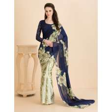 ACS-03 PISTA CASUAL FLORAL PRINTED SEMI STITCHED SAREE AND BLOUSE