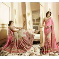 PINK AND BEIGE BRIDAL WEDDING WEAR INDIAN STYLISH SAREE