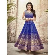 12014 BLUE SASHI DESIGNER FAUX GEORGETTE ANARKALI SUIT