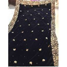 Long Black Embroidered Velvet Shawl