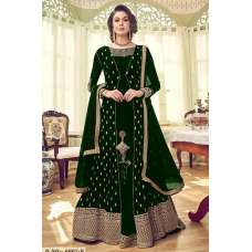 GREEN GEORGETTE INDIAN JACKET STYLE ANARKALI DRESS