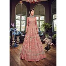 CORAL PINK LUXURY HEAVY EMBROIDERED INDIAN WEDDING BRIDAL GOWN