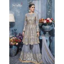 S-83 SILVER SYBELLA HEAVY EMBROIDERED WEDDING WEAR DRESS