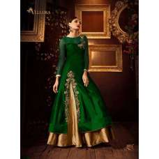 103-C GREEN AND GOLD VELLORA PREMIUM SILK EMBROIDERED LEHENGA DRESS