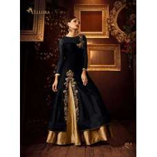 103-A BLACK AND GOLD VELLORA PREMIUM SILK EMBROIDERED LEHENGA DRESS
