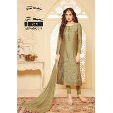 OLIVE GREEN EMBROIDERED READY MADE SALWAR SUIT