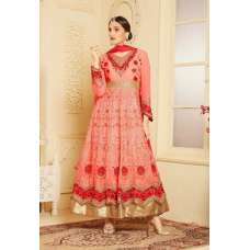 Indian Maxi Coral Peach Party Evening Wedding Anarkali Suit (Ready Made XXL )