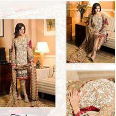 BROWN MEHWISH HAYAT PAKISTANI STYLE READY MADE GEORGETTE SALWAR SUIT