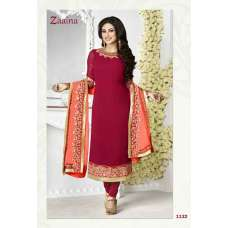 1132 RED ZAAINA BY KHWAAB STRAIGHT GEORGETTE SALWAR KAMEEZ SUIT