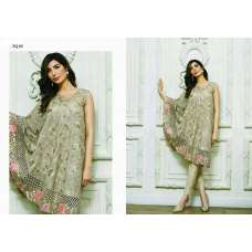 ZQ-06 GREEN BEIGE ZARQASH SEMI STITCHED SALWAR KAMEEZ SUIT