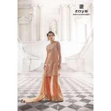 12001-A PEACH ECHO ORGINIAL ZOYA SHADES STYLISH WEDDING WEAR OUTFIT (4 PIECE SUIT)