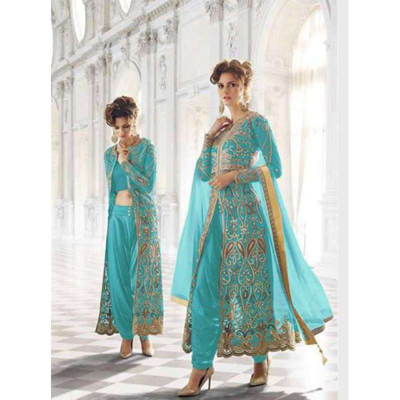 12003-T TURQUOISE ZOYA WEDDING WEAR 5 PIECE OUTFIT AT ...