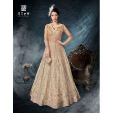 BEIGE ZOYA HEAVY EMBROIDERED BRIDAL GOWN
